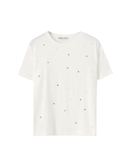 T-shirt with faux pearls and studs