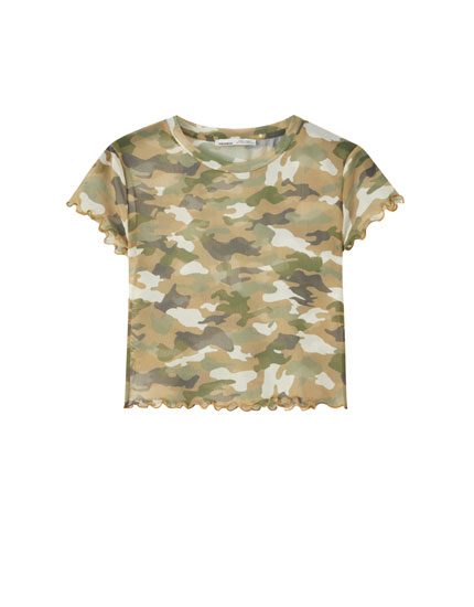 Camiseta tul detalle rizados