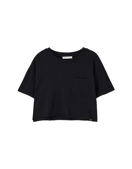 Basic cropped cotton T-shirt