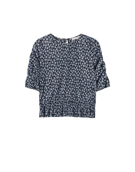 Camiseta goma cintura manga volumen