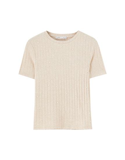 T-shirt i rib med kunstige perler