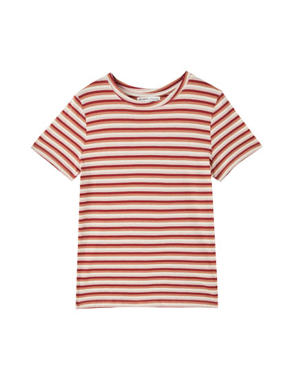 Basic stripe print T-shirt