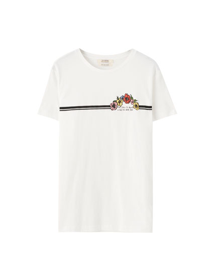 Ribbed T-shirt with floral print