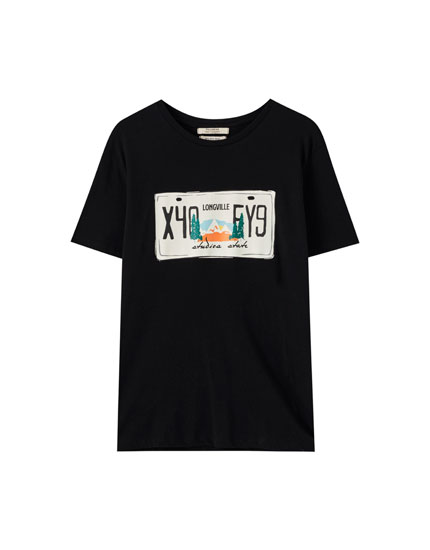 T-shirt noir illustration plaque d'immatriculation