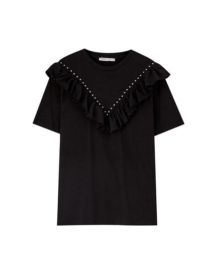 Studded T-shirt with ruffle trims