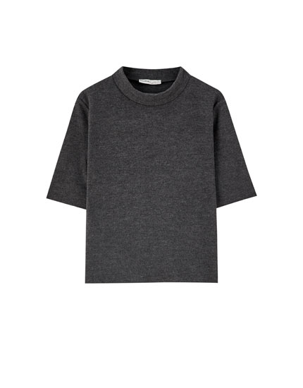 Soft-feel high neck T-shirt