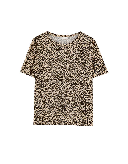 Camiseta cropped leopardo