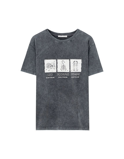 Faded black T-shirt with Horoscope illustration