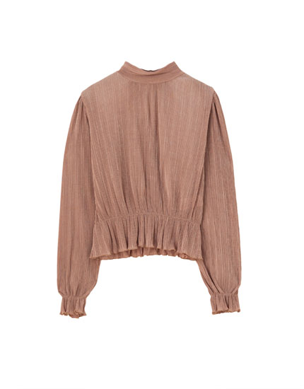 Pleated mock neck T-shirt