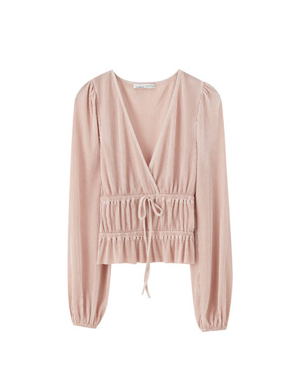 Pleated surplice top