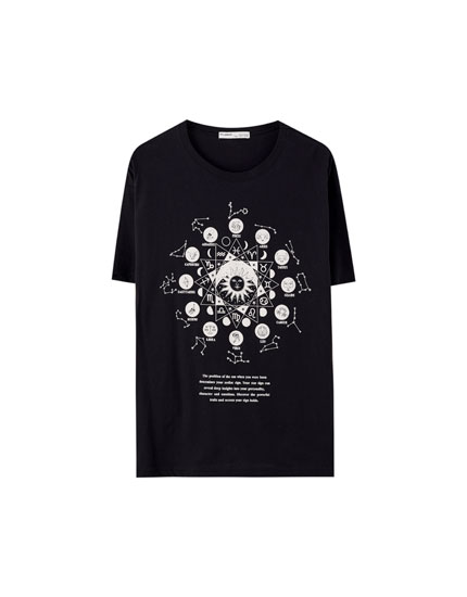 Black T-shirt with sun illustration