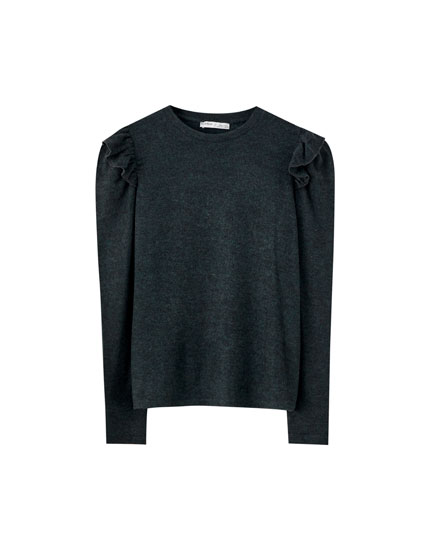 Soft-feel T-shirt with puff sleeves