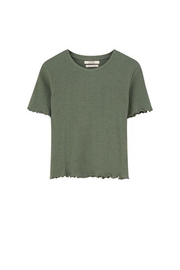 Basic lettuce edge T-shirt