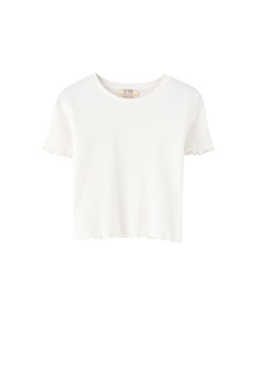 Basic lettuce edge T-shirt