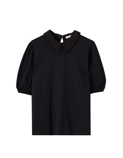 Basic T-shirt with shirt collar