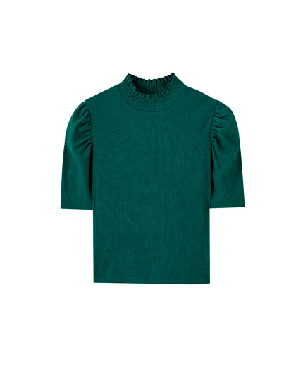 Full sleeve mock neck T-shirt
