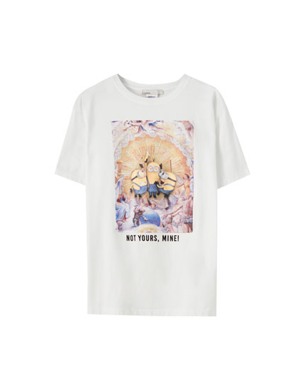 White Minions T-shirt with slogan