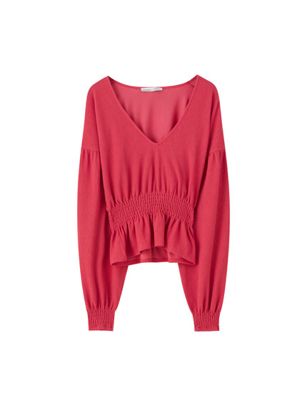 Fuchsia top with shirred detailing