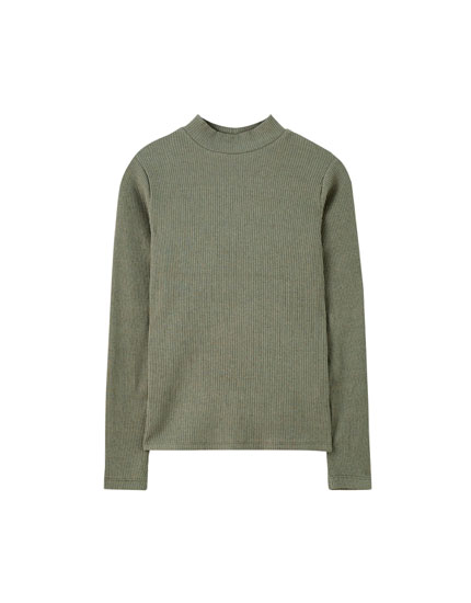 Ribbed basic T-shirt with mock neck