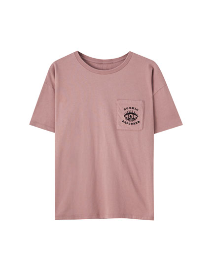 Pink T-shirt with eye illustration