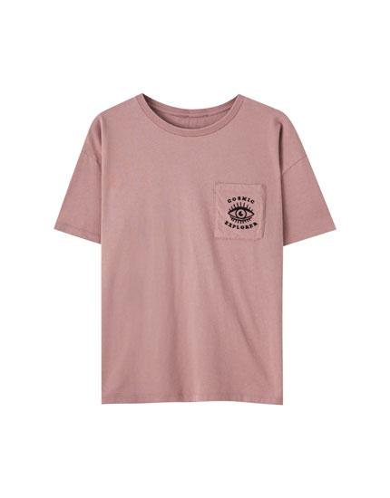 T-shirt rose motif œil