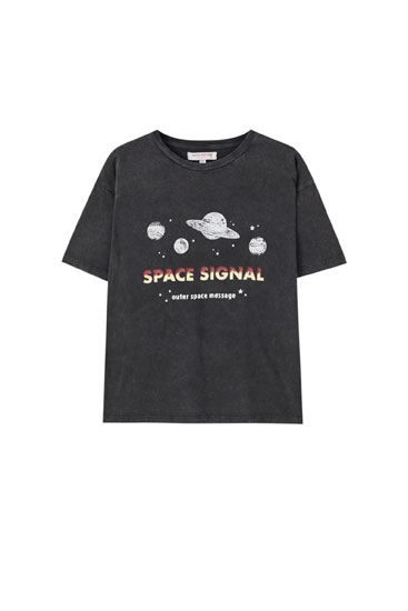 T-shirt with planet illustration and slogan