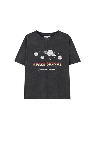 T-shirt illustration planètes inscription