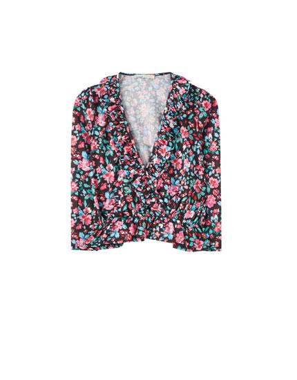 T-shirt cache-cœur froissé à imprimé floral