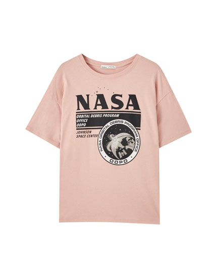Pink NASA logo T-shirt