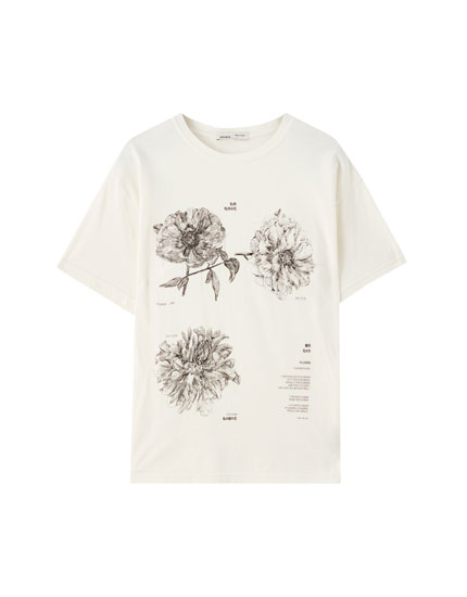 Short sleeve T-shirt with floral illustration