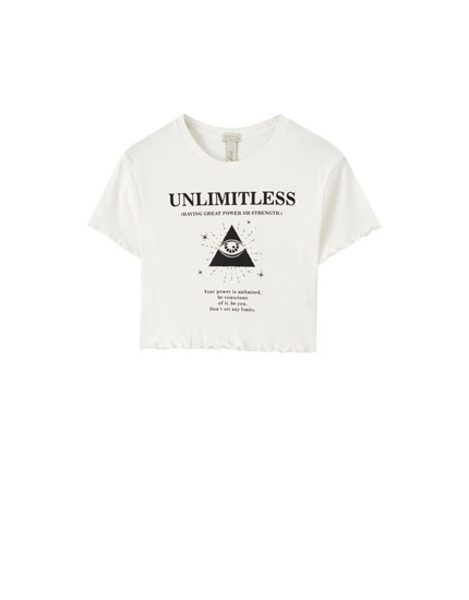 "Cropped ""Unlimitless"" illustration T-shirt"