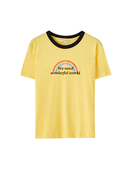 Yellow T-shirt with rainbow print and slogan