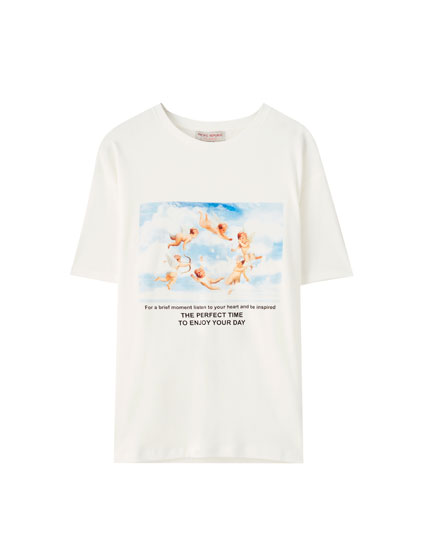 White T-shirt with angels illustration