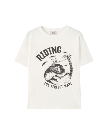 Surfing skeleton illustration T-shirt