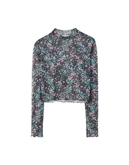 T-shirt imprimé floral tulle