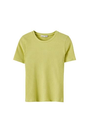 Basic ribbed round neck T-shirt