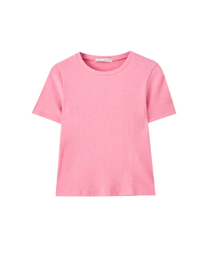 T-shirt basique en maille côtelée à manches courtes