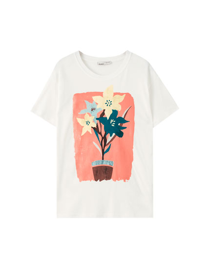 Short sleeve T-shirt with watercolour floral print