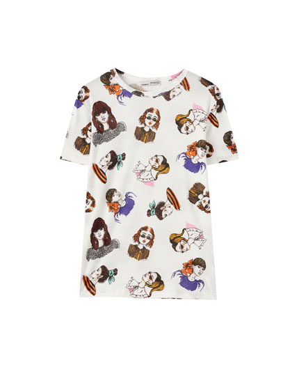 Contrast all-over girl print T-shirt