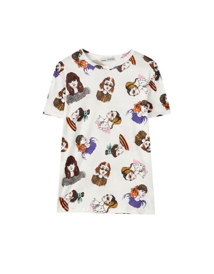 Camiseta print chicas contraste