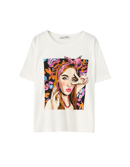 White T-shirt with girl illustration