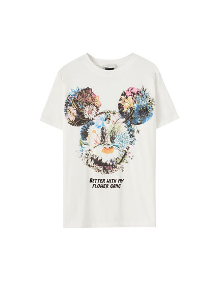 Camiseta Mickey Mouse flores