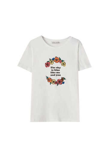 White T-shirt with contrast floral illustration