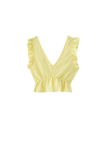 Ruffled fabric top with Swiss embroidery