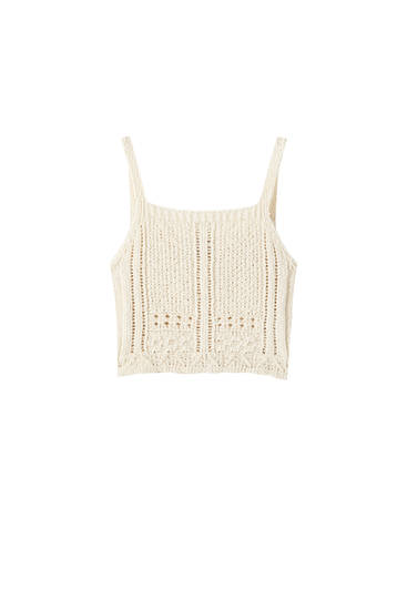 Knit strappy crop top