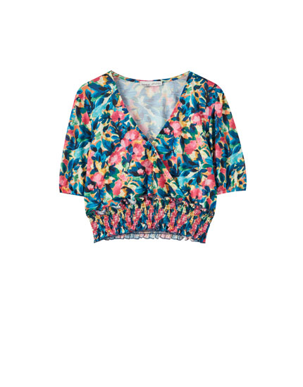 Floral T-shirt with an elasticated waist