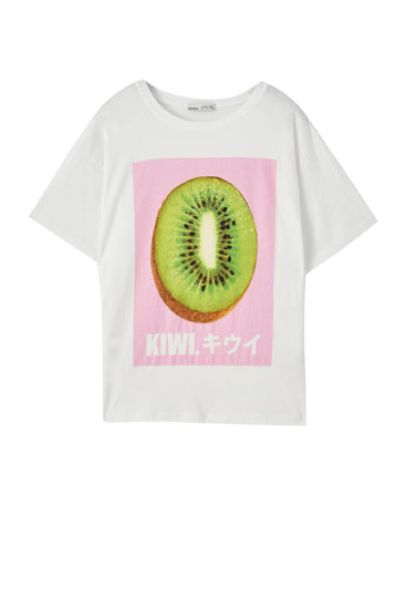 White T-shirt with kiwi illustration