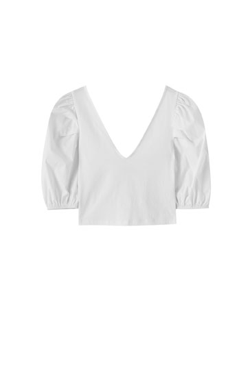 T-shirt with short puff sleeves