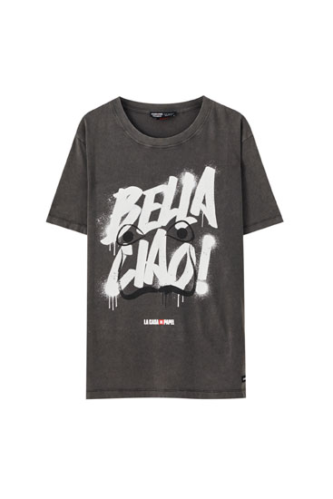 Black Money Heist x Pull&Bear Bella Ciao T-shirt