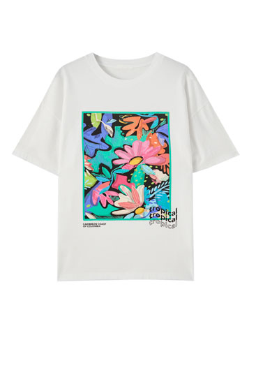 White T-shirt with tropical illustration